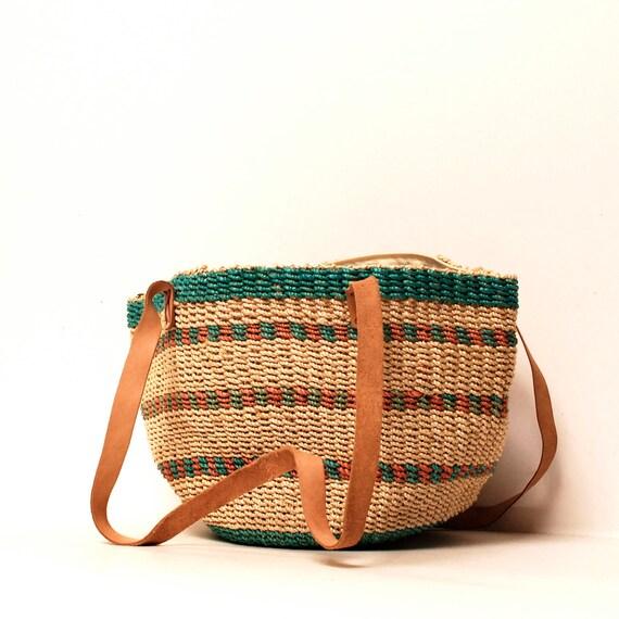 STRIPE woven JUTE 70s TOTE bucket bag