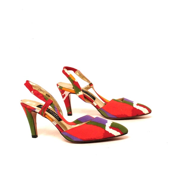 size 8 WATERCOLOR satin 80s J.RENNE COUTURE high heel pumps