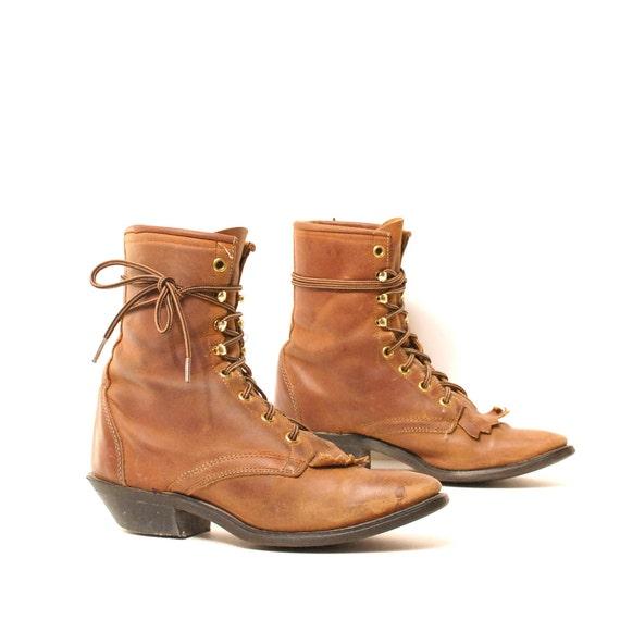 size 6.5 SOUTHWEST tan leather 80s FRINGE toe roper ANKLE lace up boots