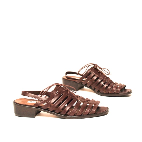 size 9 STRAPPY brown leather 80s 90s LACE UP slingback sandals