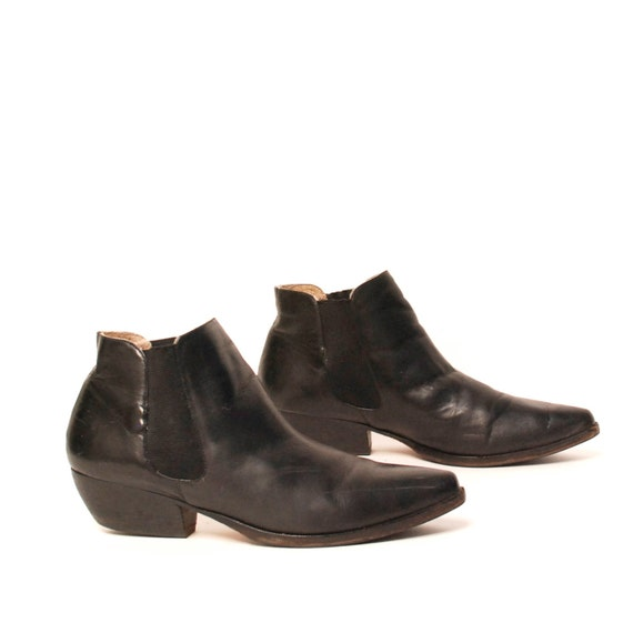 size 10 MINIMAL black leather 80s SOUTHWEST high ankle boots