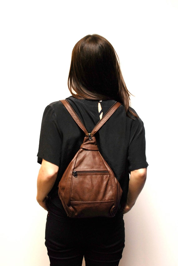 brown LEATHER southwest hobo 80s KNAPSACK convertible BACKPACK