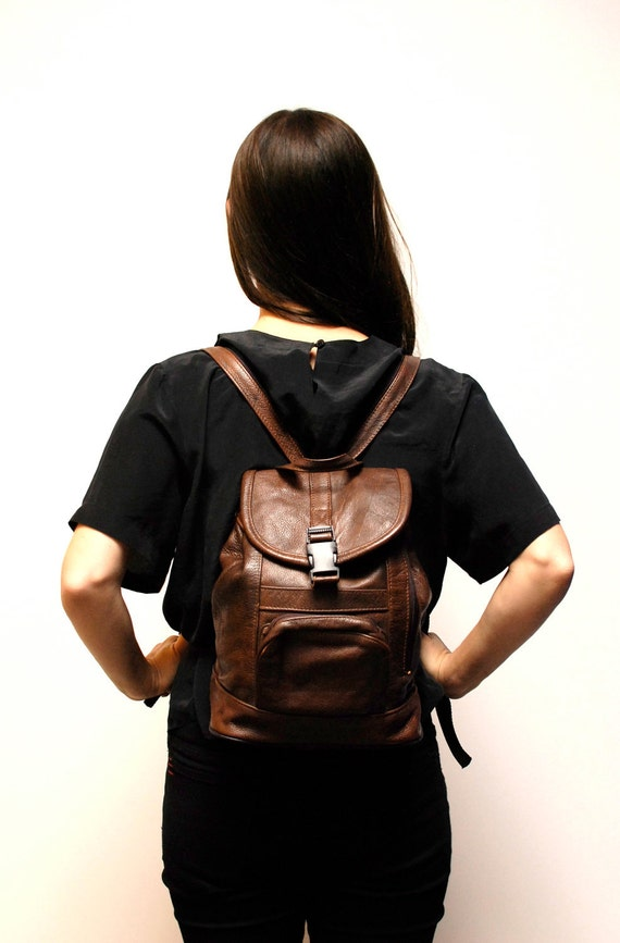 brown leather 80s BACKPACK grunge UNISEX