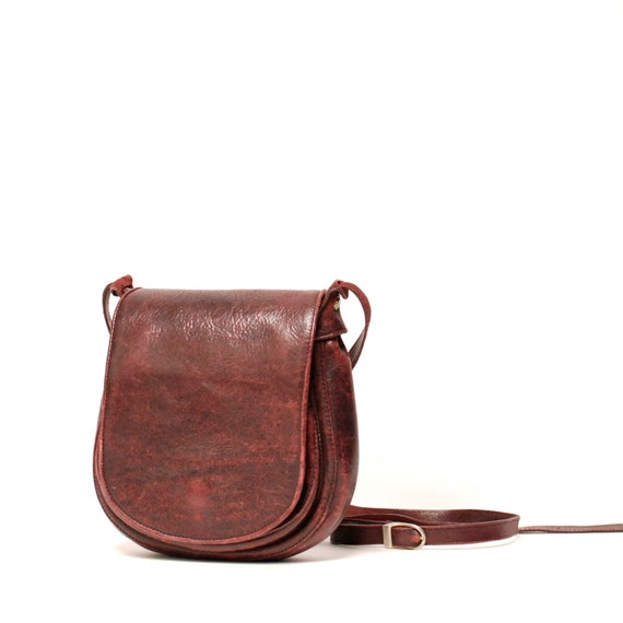OXBLOOD red leather 70s SOUTHWEST small purse