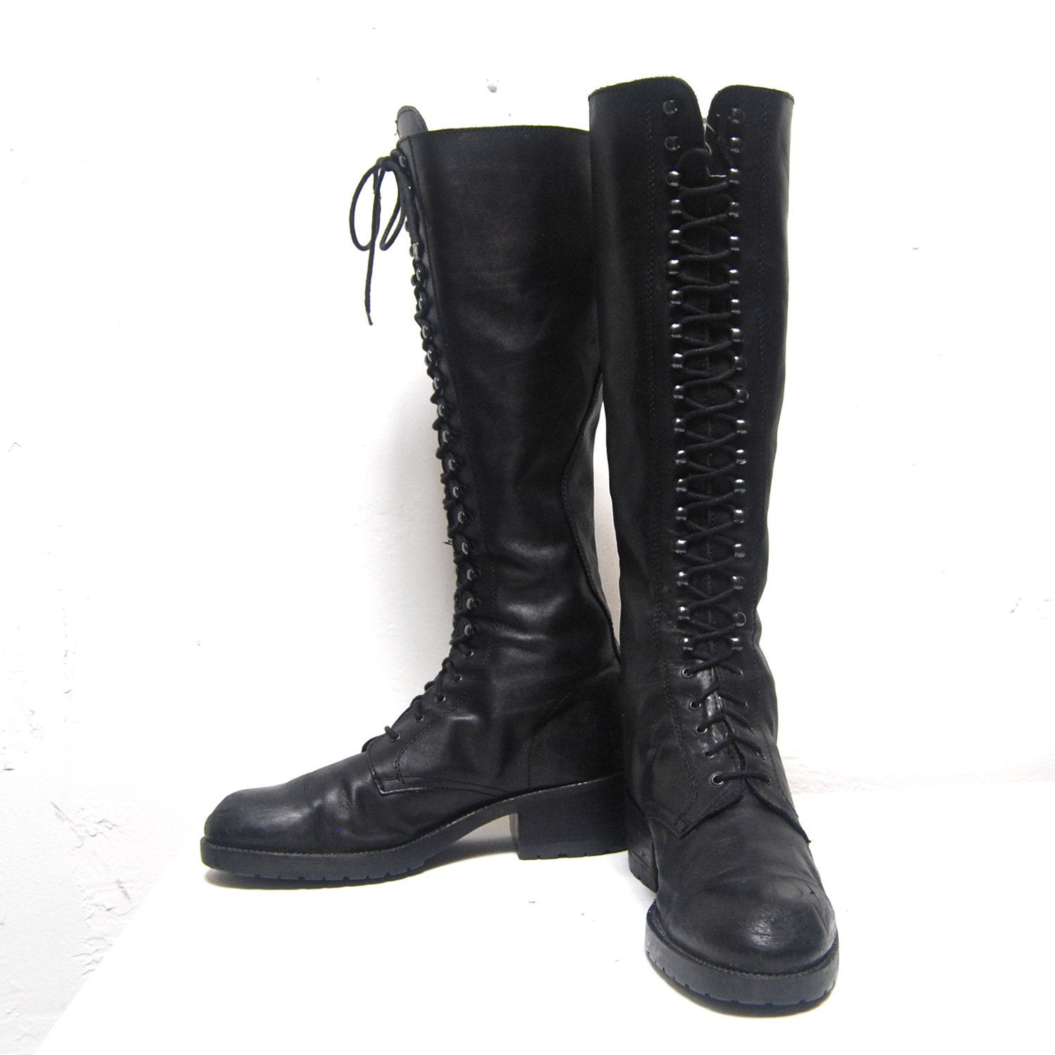 grunge 90s knee high lace up combat boots size 9 5