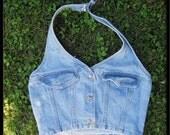 SWEET vintage Denim HALTER top shirt blouse