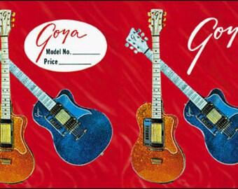 1960s vintage guitars GOYA red guitar kitsch Card