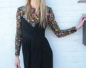 Vintage 80s RHINESTONE ENCRUSTED Dress with TULIP SKIRT