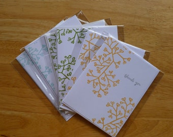 Foliage Thank you Notecard Set (6) - Robin's Egg Blue, Bamboo Leaves Green, Cantaloupe Orange