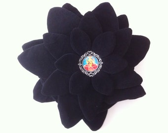 CREMATION URN - 36 soft black velveteen petals encasing a circular pillow urn to hold a loved one's ashes.  With picture frame on each side.