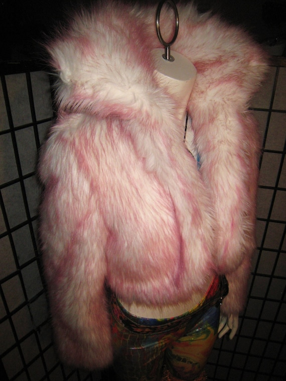 Pink-tipped, faux fur, cropped white coat with stand-up collar option