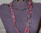 Upcycled red and gray tie dye T-Shirt necklace 40 inches long