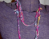 Upcycled pink, blue yellow and purple tie dye necklace total of 100 inches