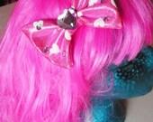 MISS ALPHABET hot pink heart lycra shimmer purple heart jewel princess hair bow clip