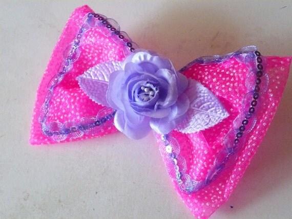 Hot pink sugary hair bow clip organza purple rose