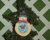 Snowman Ornament with Red Bird