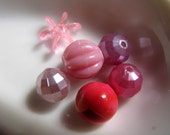 CLEARANCE - Vintage purple and pink bead mix lot  (6)