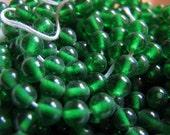 Vintage transparent green glass beads 5mm  (20)