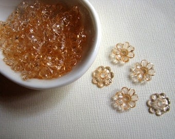 Vintage lucite peach apricot flower beads 10mm  (12)