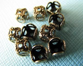 10 square brass filigree bead caps