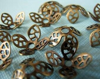 Simple brass filigree bead caps 9mm (12)