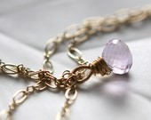 Simply Luxe Daphne Necklace - gem pink amethyst and gold fill necklace