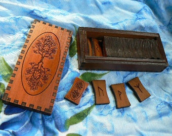 Tree of Life Futhark Red Cedar Rune Set