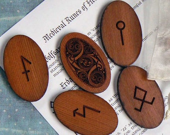Medieval Runes of Healing and Magic  With Celtic Spiral Backs