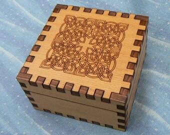 2.5 x 2.5 x 1.5 Celtic Cross Cedar Small Jeweler's Box