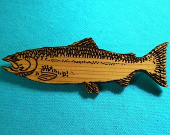 Salmon on Cedar brooch