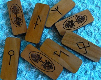 Tree of Life Medieval Runes of Healing and Magic  on Cedar
