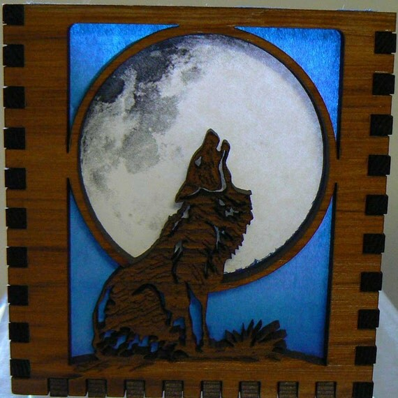 Howling Under the Moon Candle Screen Cedar Box Lantern
