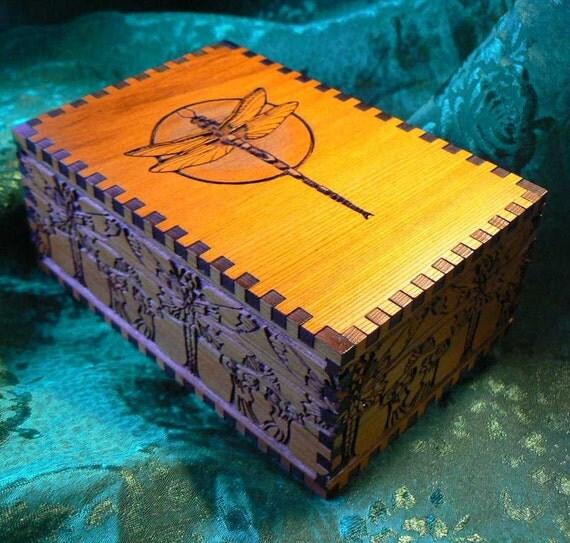 Dragonfly Double Delight Cedar Tarot Storage Box