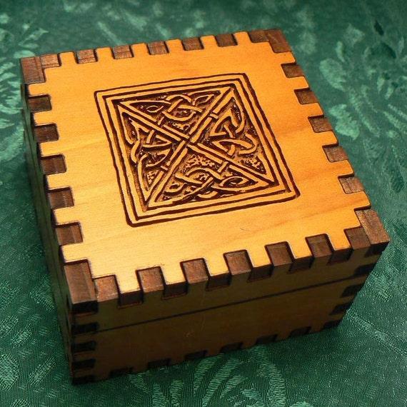 2.5 x 2.5 x 1.5 Celtic Square Cedar Small Jeweler's Box