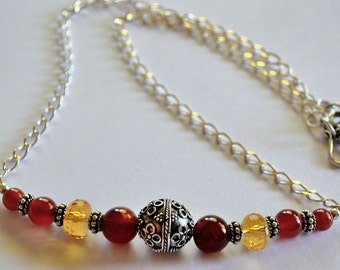 Carnelian & Citrine Necklace