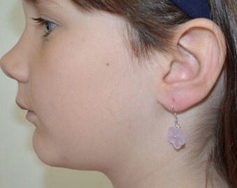 Girls Pink Flower Earrings