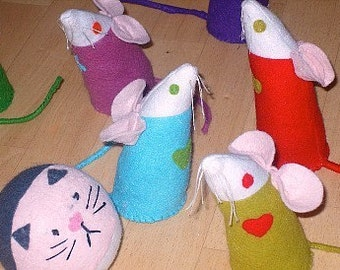 Cat and Mice Skittles / Traditional Toys / Children's Games / Felt Toys