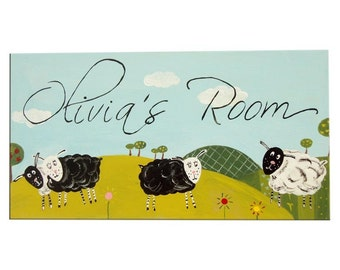 Baa Baa Black Sheep personalised door sign / plaque