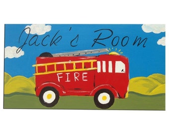 Fire Truck Door Sign  - Personalized / Fire Engine Personalised Name Plaque / Kids room Decor