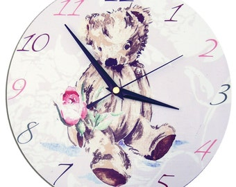 Teddy Bear Clock / Children;s Wall Clock / Nursery Clock / Nursery Decor