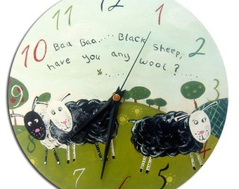 Baa Baa Black Sheep Clock / Children's Nursery Rhyme Hand-painted Wall Clock / Nursery Decor
