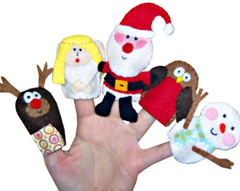 Christmas Finger Puppets - 5 / Xmas Stocking Filler / Kids Toys / Stocking Filler / Reindeer  / Angel / Santa / Robin / Snowman