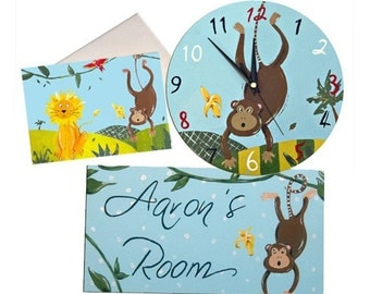 Monkey Clock, Personalized Door Sign and Card Gift Set / Nursery Clock / Personalised Name Plaque