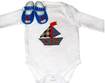 Boat Babygro and Baby Shoes Gift Set / Bodysuit / Felt Booties / All in One / Boys