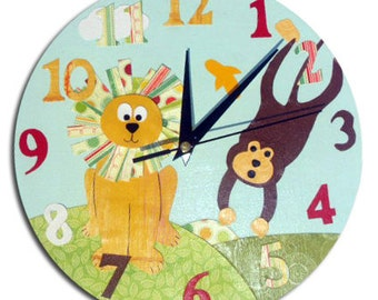 Jungle Animal Clock / Children's Wall Clock / Monkey and Lion Kids Decor / Nursery Clock