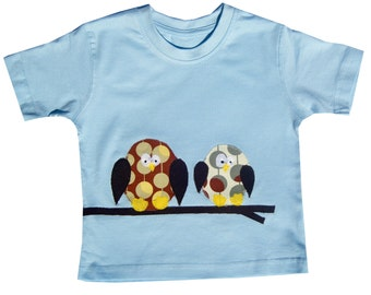 Owl T-Shirt (Blue, White, Pink or yellow) / Boys Tee Shirt / Girls Top / Children's / Kids / Baby Clothes