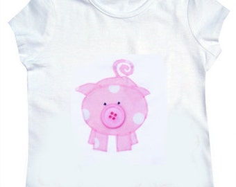 Pig T-Shirt / Girls Tee Shirt / Animal Top / Children's / Kids / Baby Clothes