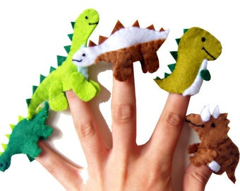 Dinosaur Finger Puppets / Children's / Kids Felt Puppet - 5 / Boys Stocking Filler