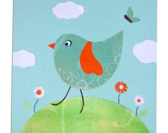 Bird Canvas / Children's Art / Nursery Decor - Blue, Pink, Yellow