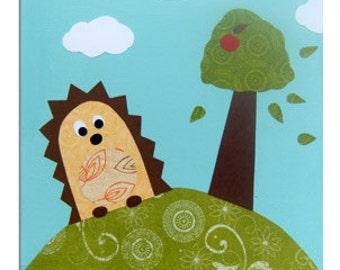 Hedgehog Canvas- Children's Art / Nursery Decor / Boys, Girls